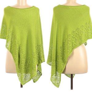 Bandolino Poncho Style Sweater Lime Green One Size